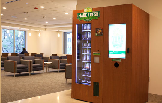 Handmade, healthy salads via automated vending kiosks